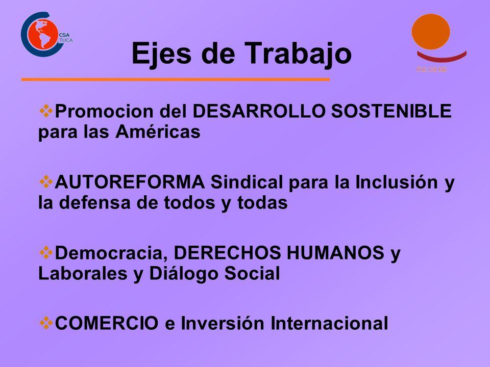 Ejes de Trabajo Promocion del DESARROLLO SOSTENIBLE para las Américas AUTOREFORMA Sindical para la Inclusión y la defensa de todos y todas Democracia,
