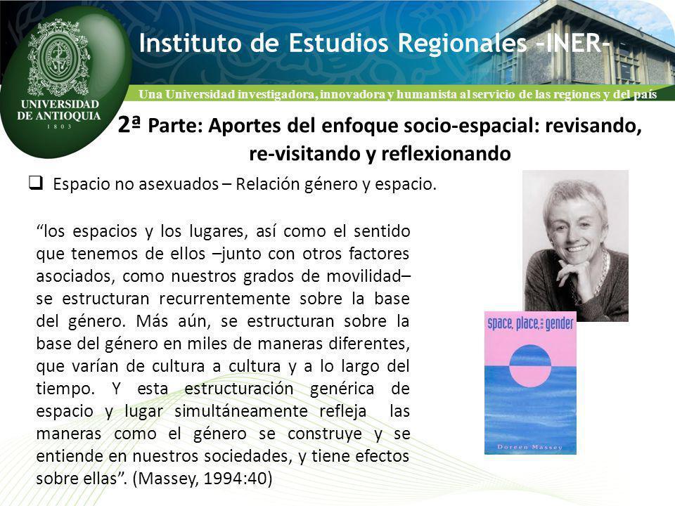 Una Universidad investigadora, innovadora y humanista al servicio de las regiones y del país Instituto de Estudios Regionales –INER- Espacio no asexuados – Relación género y espacio.