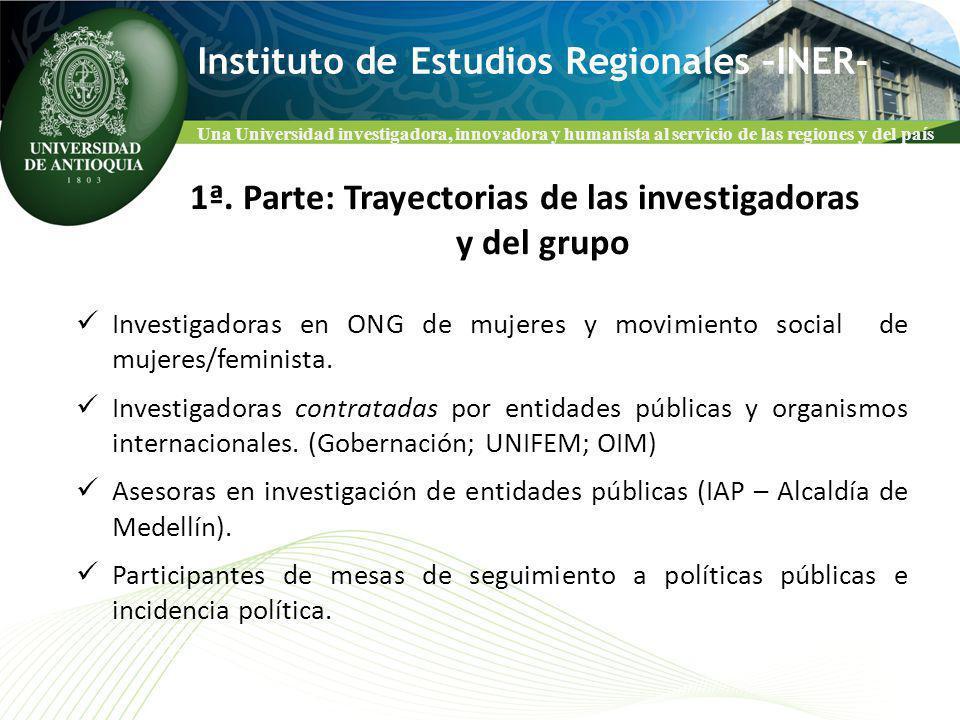 Una Universidad investigadora, innovadora y humanista al servicio de las regiones y del país Instituto de Estudios Regionales –INER- Investigadoras en ONG de mujeres y movimiento social de mujeres/feminista.