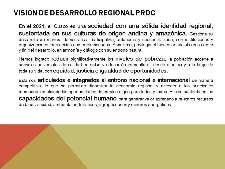 VISION DE DESARROLLO REGIONAL PRDC En el 2021, el Cusco es una sociedad con una sólida identidad regional, sustentada en sus culturas de origen andina