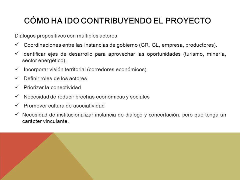 CÓMO HA IDO CONTRIBUYENDO EL PROYECTO Diálogos propositivos con múltiples actores Coordinaciones entre las instancias de gobierno (GR, GL, empresa, pr