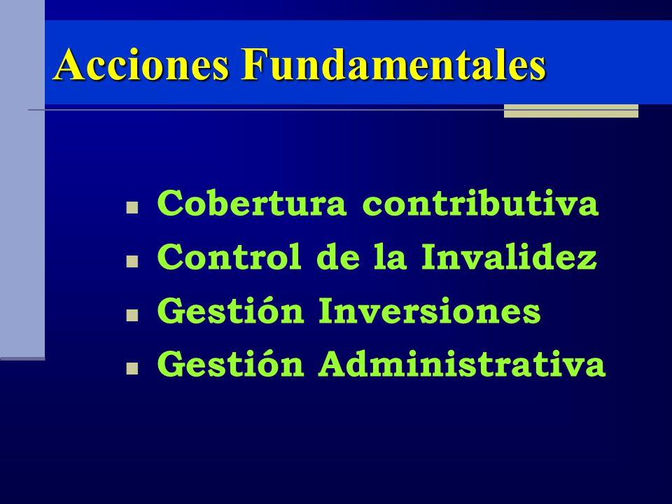 Acciones Fundamentales Cobertura contributiva Control de la Invalidez Gestión Inversiones Gestión Administrativa