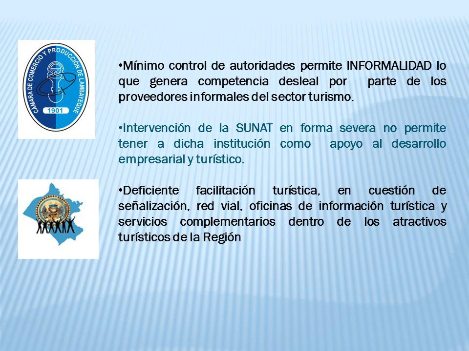Mínimo control de autoridades permite INFORMALIDAD lo que genera competencia desleal por parte de los proveedores informales del sector turismo.
