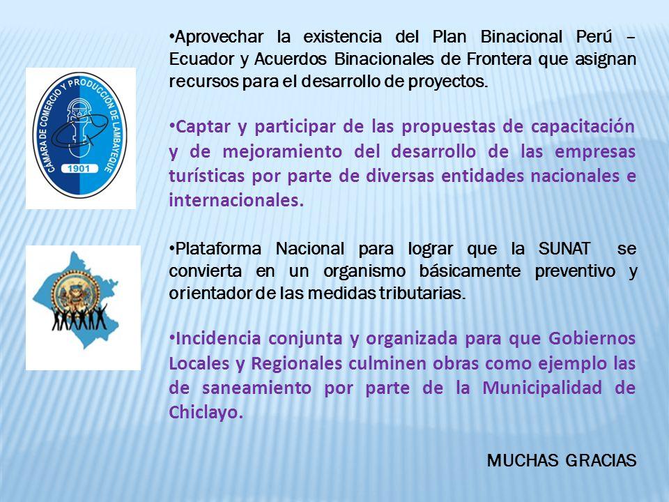 Aprovechar la existencia del Plan Binacional Perú – Ecuador y Acuerdos Binacionales de Frontera que asignan recursos para el desarrollo de proyectos.