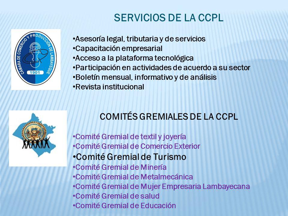 COMITÉ GREMIAL DE TURISMO SOMOS UN EQUIPO DE EMPRESARI@S DE LA CÁMARA DE COMERCIO Y PRODUCCIÓN DE LAMBAYEQUE CONSCIENTES DE LA PROBLEMÁTICA QUE ATRAVIESA EL SECTOR Y DE LA NECESIDAD DE CONTRIBUIR CON EL DESARROLLO DEL TURISMO EN NUESTRA REGIÓN, TRABAJANDO CON CALIDAD Y RESPONSABILIDAD SOCIAL.