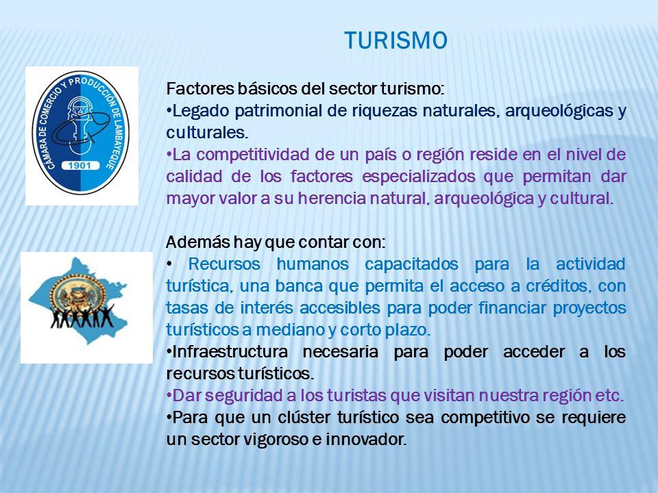TURISMO Factores básicos del sector turismo: Legado patrimonial de riquezas naturales, arqueológicas y culturales.