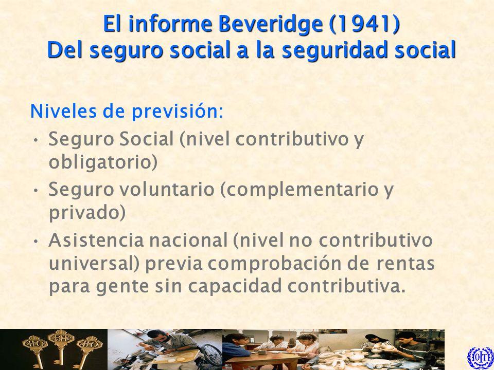 El informe Beveridge (1941) Del seguro social a la seguridad social Seis principios: Condiciones de acceso y prestaciones uniformes (principio de igualdad).