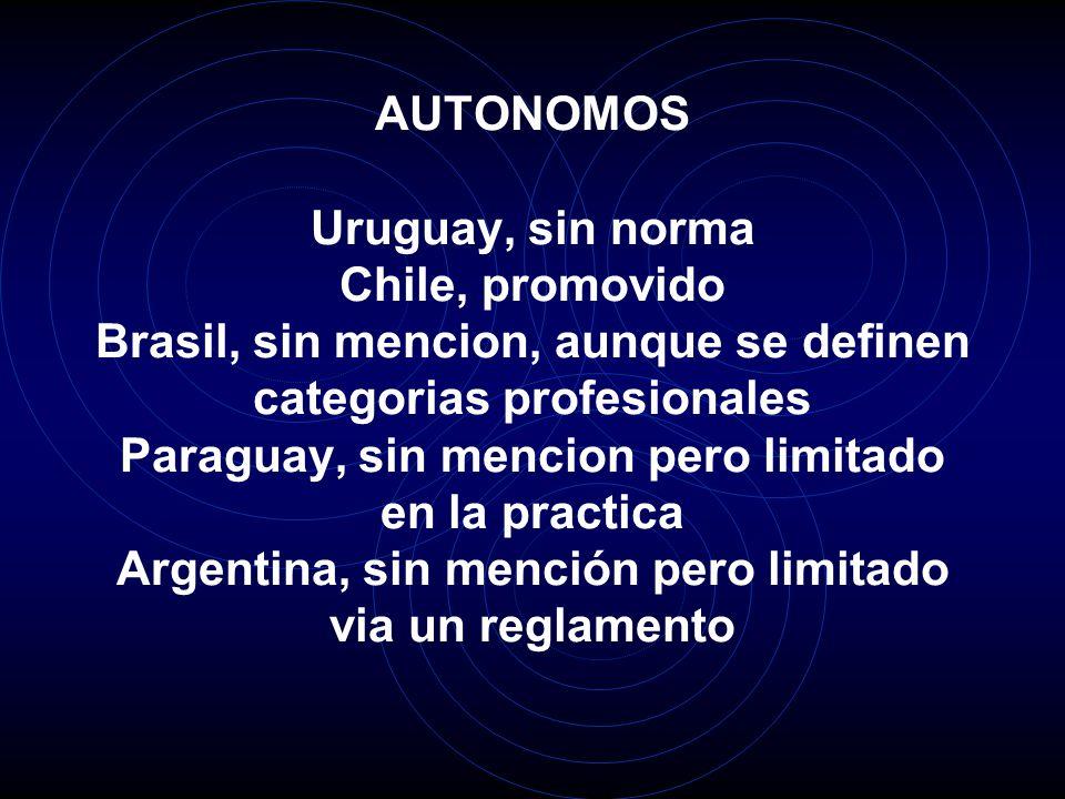 AUTONOMOS Uruguay, sin norma Chile, promovido Brasil, sin mencion, aunque se definen categorias profesionales Paraguay, sin mencion pero limitado en la practica Argentina, sin mención pero limitado via un reglamento