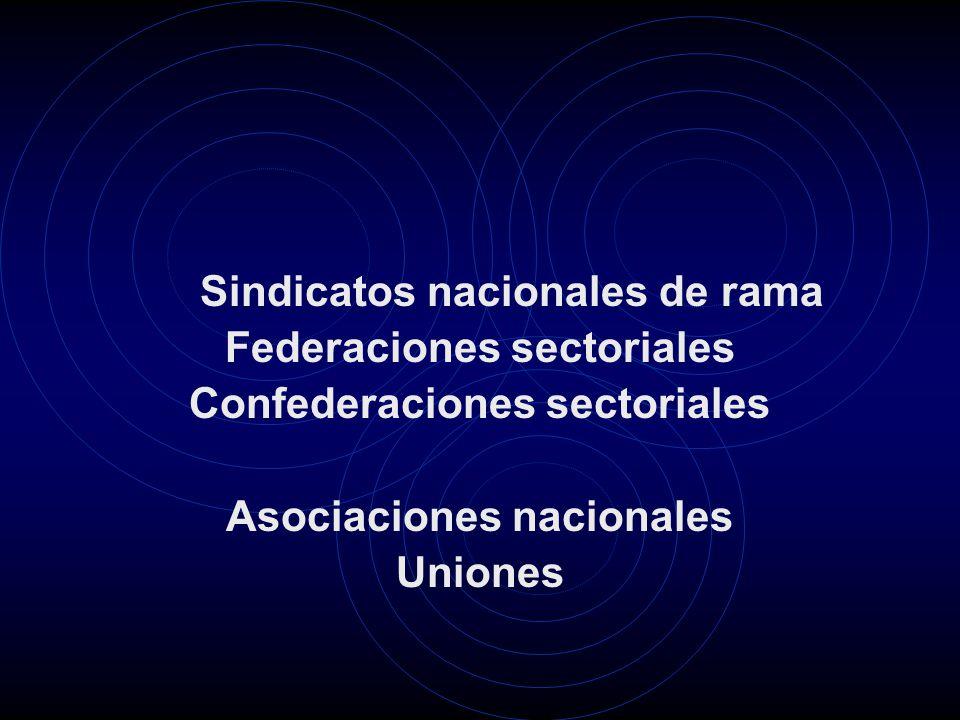 Sindicatos nacionales de rama Federaciones sectoriales Confederaciones sectoriales Asociaciones nacionales Uniones