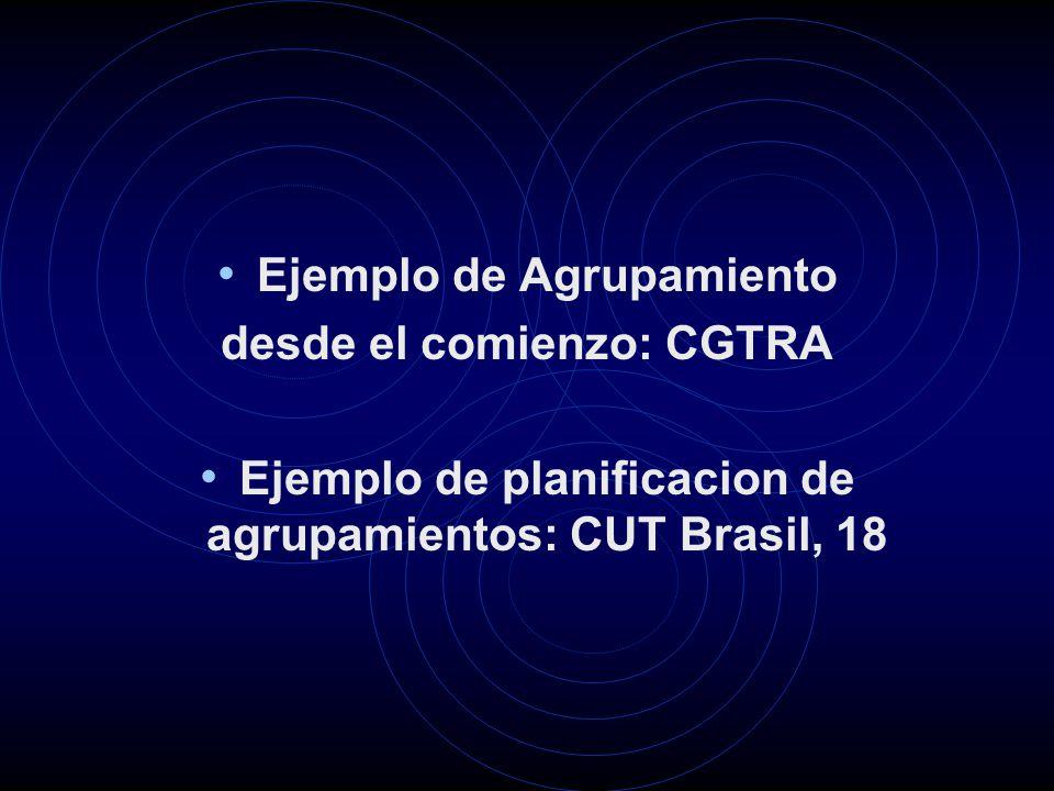 Ejemplo de Agrupamiento desde el comienzo: CGTRA Ejemplo de planificacion de agrupamientos: CUT Brasil, 18