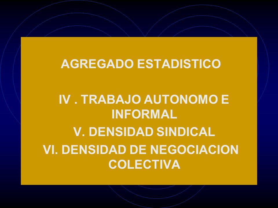 AGREGADO ESTADISTICO IV. TRABAJO AUTONOMO E INFORMAL V.