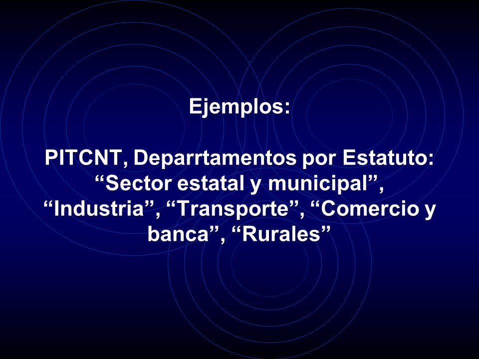 Ejemplos: PITCNT, Deparrtamentos por Estatuto: Sector estatal y municipal, Industria, Transporte, Comercio y banca, Rurales