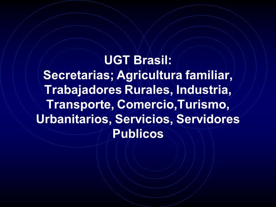 UGT Brasil: Secretarias; Agricultura familiar, Trabajadores Rurales, Industria, Transporte, Comercio,Turismo, Urbanitarios, Servicios, Servidores Publicos