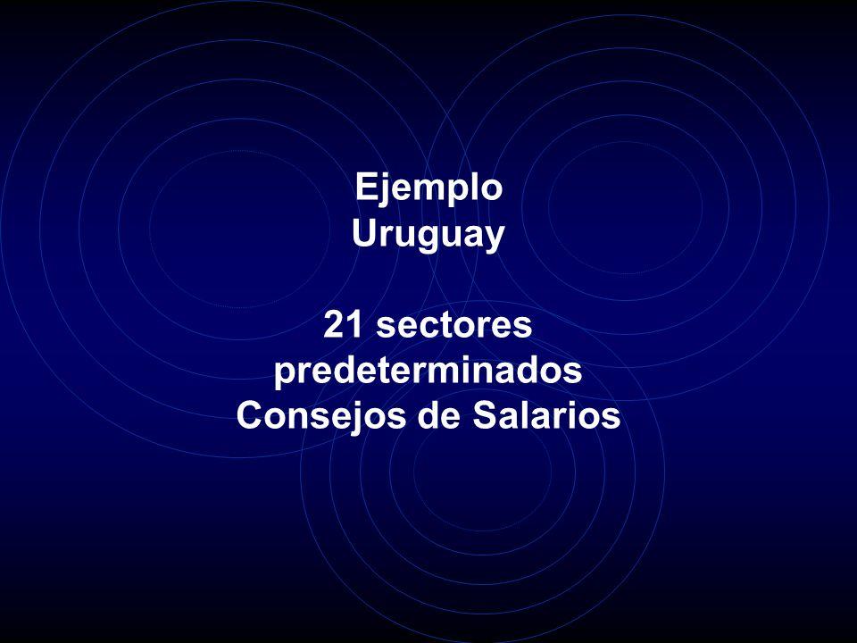 Ejemplo Uruguay 21 sectores predeterminados Consejos de Salarios