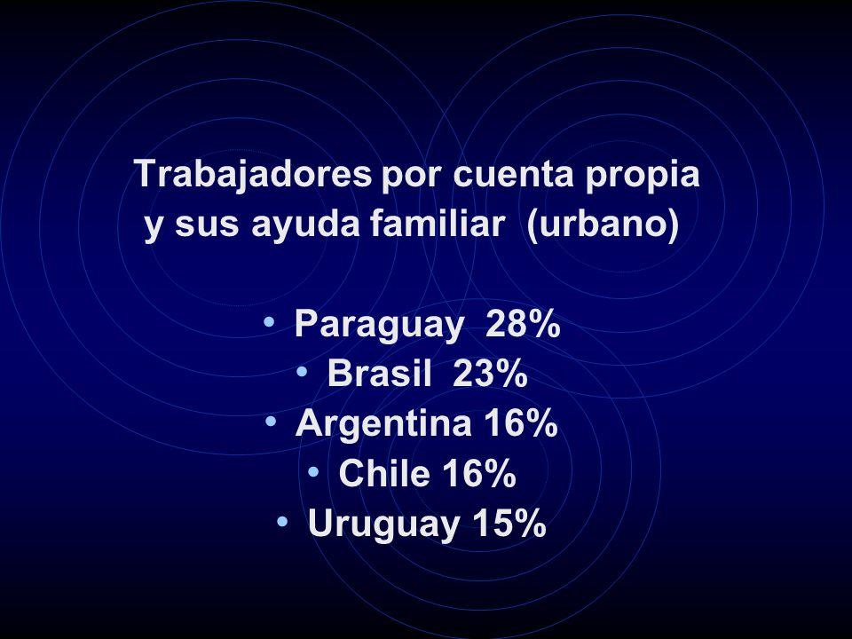Trabajadores por cuenta propia y sus ayuda familiar (urbano) Paraguay 28% Brasil 23% Argentina 16% Chile 16% Uruguay 15%