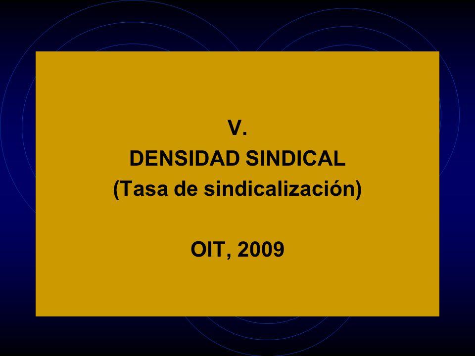 V. DENSIDAD SINDICAL (Tasa de sindicalización) OIT, 2009