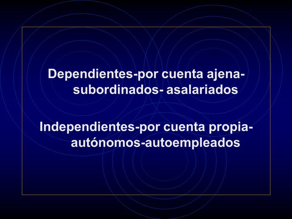 Dependientes-por cuenta ajena- subordinados- asalariados Independientes-por cuenta propia- autónomos-autoempleados