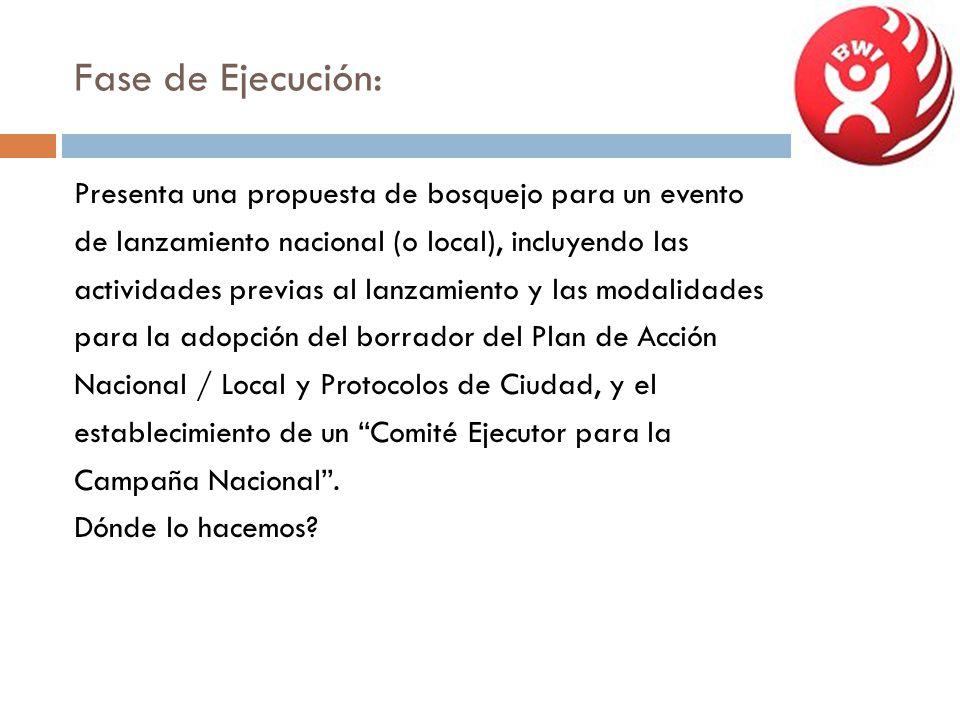 Fase de Ejecución: Presenta una propuesta de bosquejo para un evento de lanzamiento nacional (o local), incluyendo las actividades previas al lanzamie