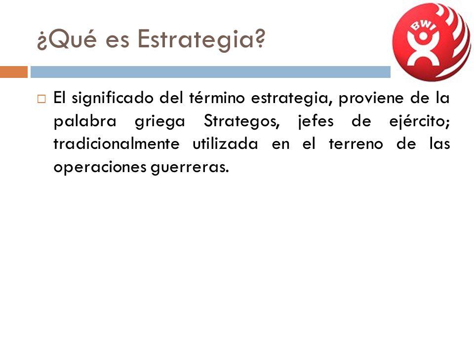¿Qué es Estrategia? El significado del término estrategia, proviene de la palabra griega Strategos, jefes de ejército; tradicionalmente utilizada en e
