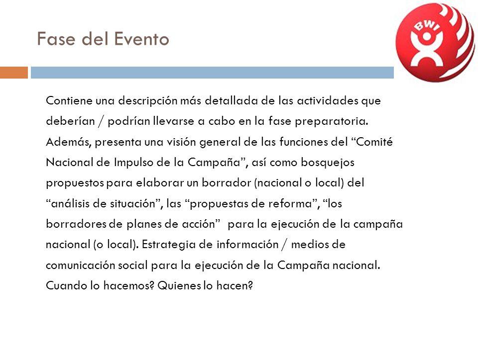 Fase del Evento Contiene una descripción más detallada de las actividades que deberían / podrían llevarse a cabo en la fase preparatoria. Además, pres