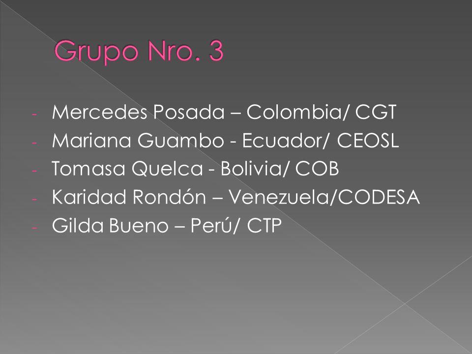 - Mercedes Posada – Colombia/ CGT - Mariana Guambo - Ecuador/ CEOSL - Tomasa Quelca - Bolivia/ COB - Karidad Rondón – Venezuela/CODESA - Gilda Bueno – Perú/ CTP