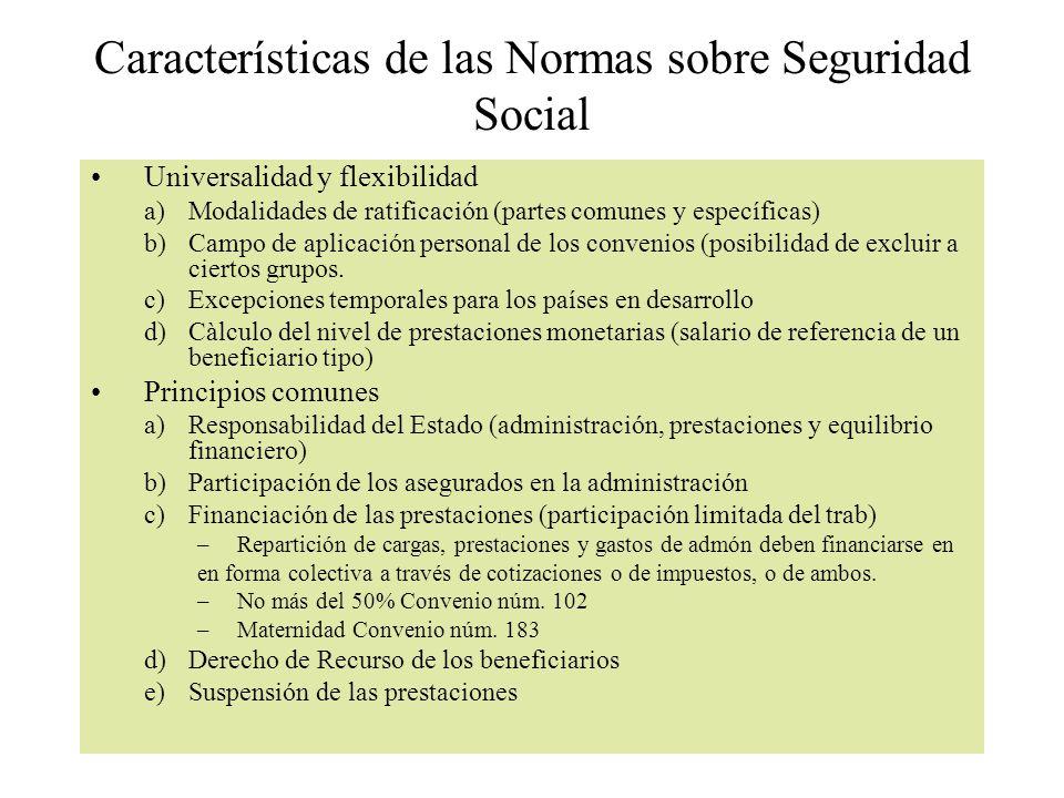 Características de las Normas sobre Seguridad Social Universalidad y flexibilidad a)Modalidades de ratificación (partes comunes y específicas) b)Campo de aplicación personal de los convenios (posibilidad de excluir a ciertos grupos.