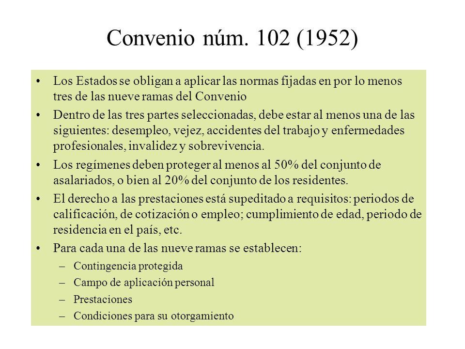 Convenio núm. 102 (1952) Los Estados se obligan a aplicar las normas fijadas en por lo menos tres de las nueve ramas del Convenio Dentro de las tres p