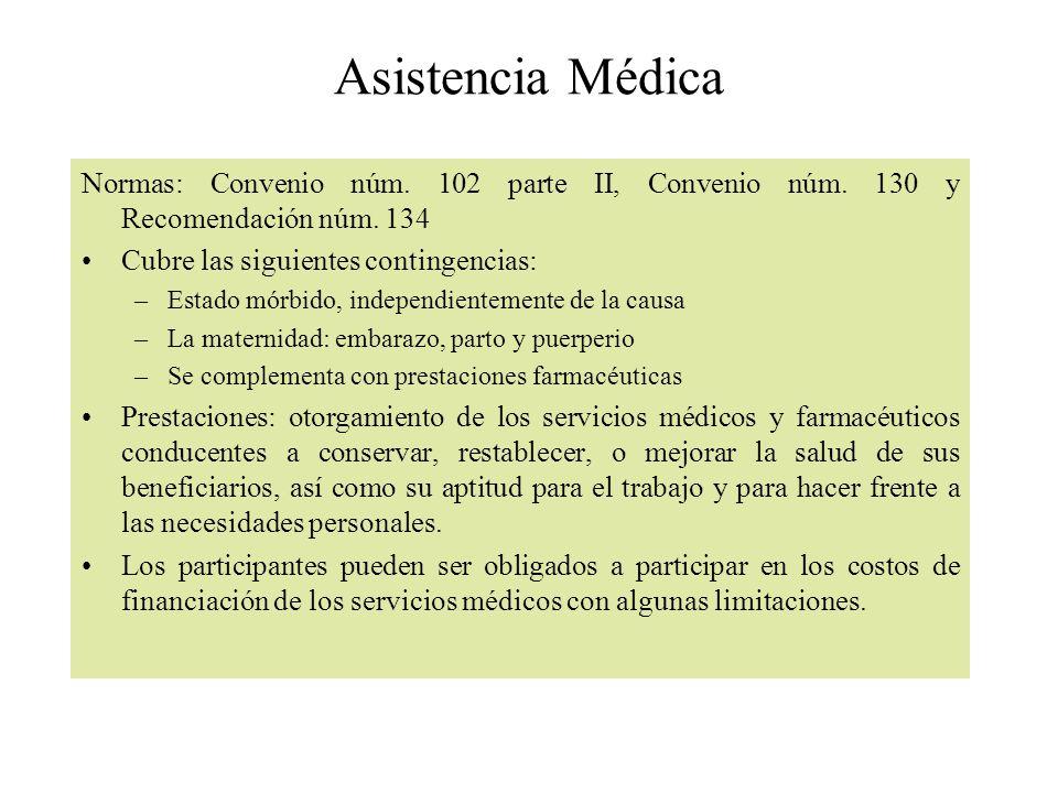 Asistencia Médica Normas: Convenio núm. 102 parte II, Convenio núm. 130 y Recomendación núm. 134 Cubre las siguientes contingencias: –Estado mórbido,