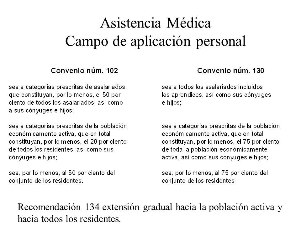 Asistencia Médica Campo de aplicación personal Recomendación 134 extensión gradual hacia la población activa y hacia todos los residentes.