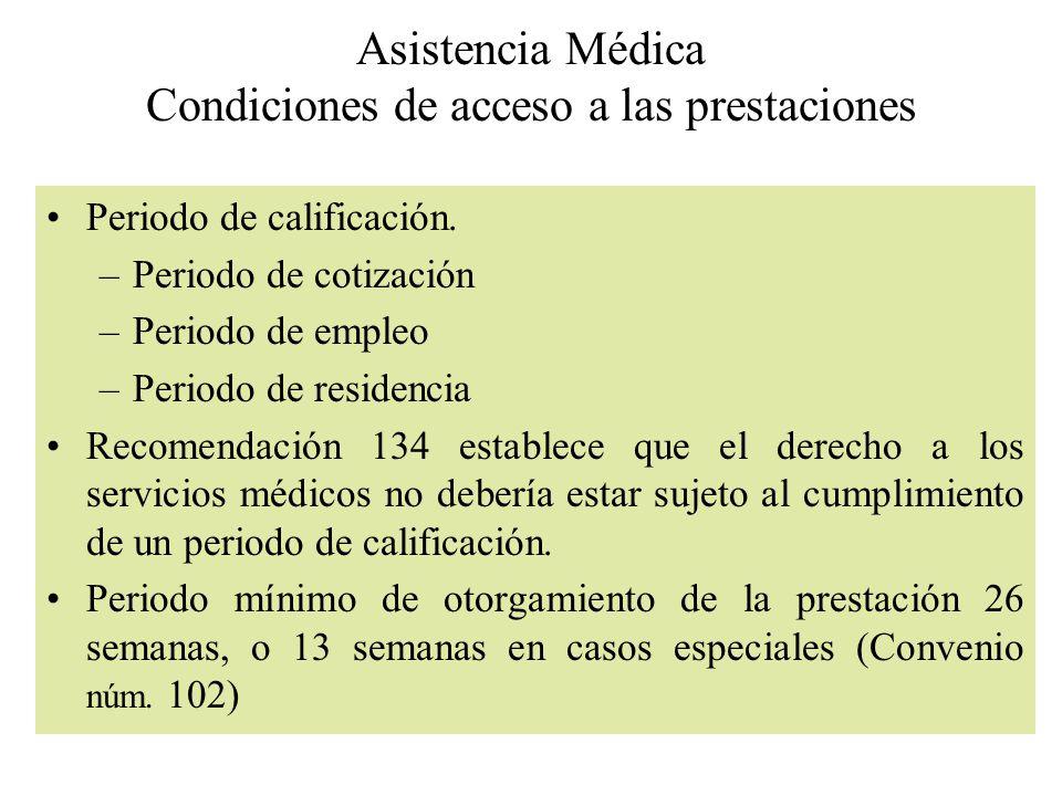 Asistencia Médica Condiciones de acceso a las prestaciones Periodo de calificación. –Periodo de cotización –Periodo de empleo –Periodo de residencia R
