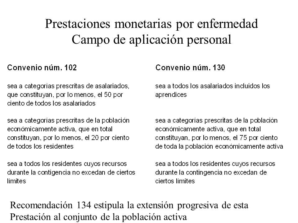 Prestaciones monetarias por enfermedad Campo de aplicación personal Recomendación 134 estipula la extensión progresiva de esta Prestación al conjunto de la población activa