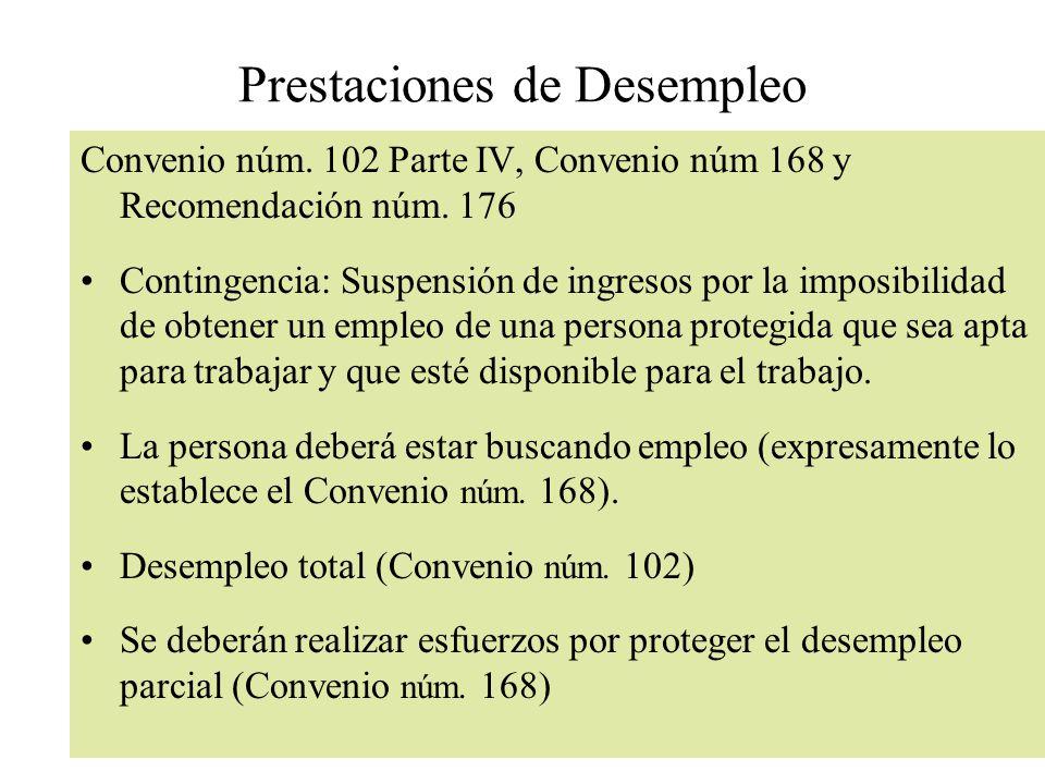 Prestaciones de Desempleo Convenio núm. 102 Parte IV, Convenio núm 168 y Recomendación núm. 176 Contingencia: Suspensión de ingresos por la imposibili