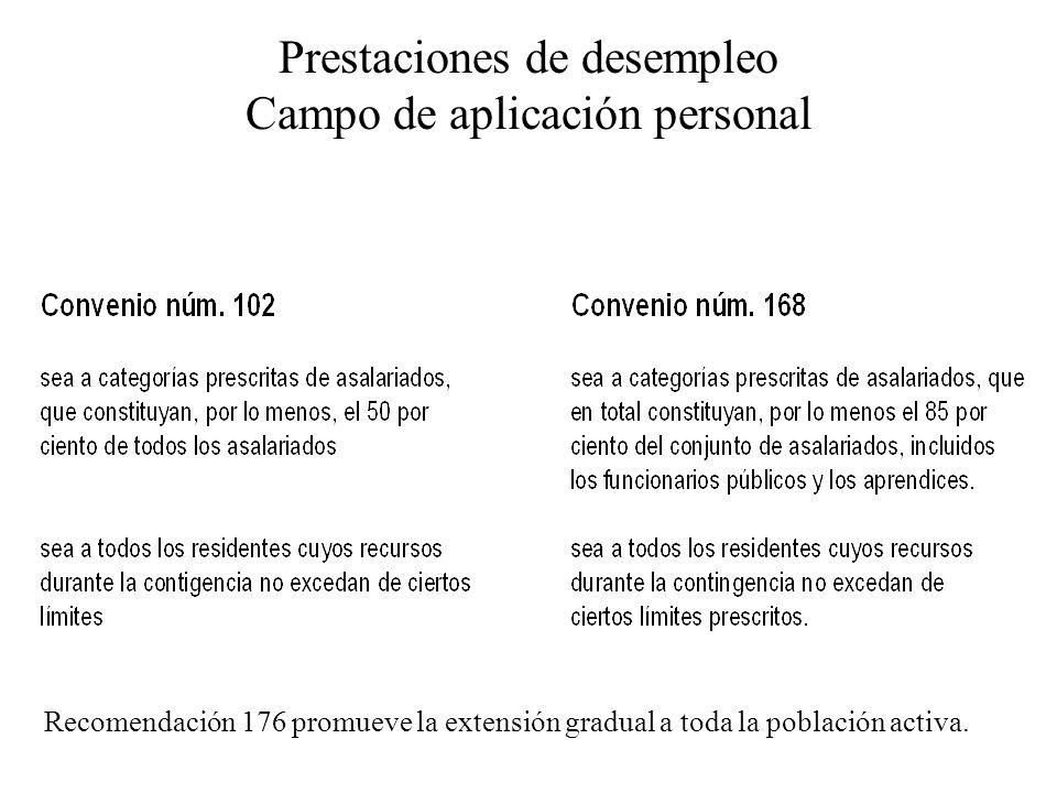 Prestaciones de desempleo Campo de aplicación personal Recomendación 176 promueve la extensión gradual a toda la población activa.