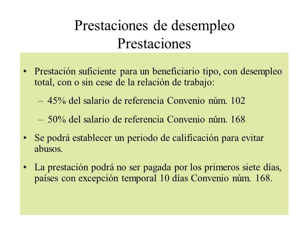Prestaciones de desempleo Prestaciones Prestación suficiente para un beneficiario tipo, con desempleo total, con o sin cese de la relación de trabajo: –45% del salario de referencia Convenio núm.