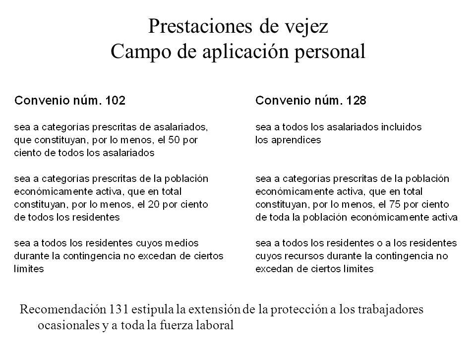 Prestaciones de vejez Campo de aplicación personal Recomendación 131 estipula la extensión de la protección a los trabajadores ocasionales y a toda la fuerza laboral