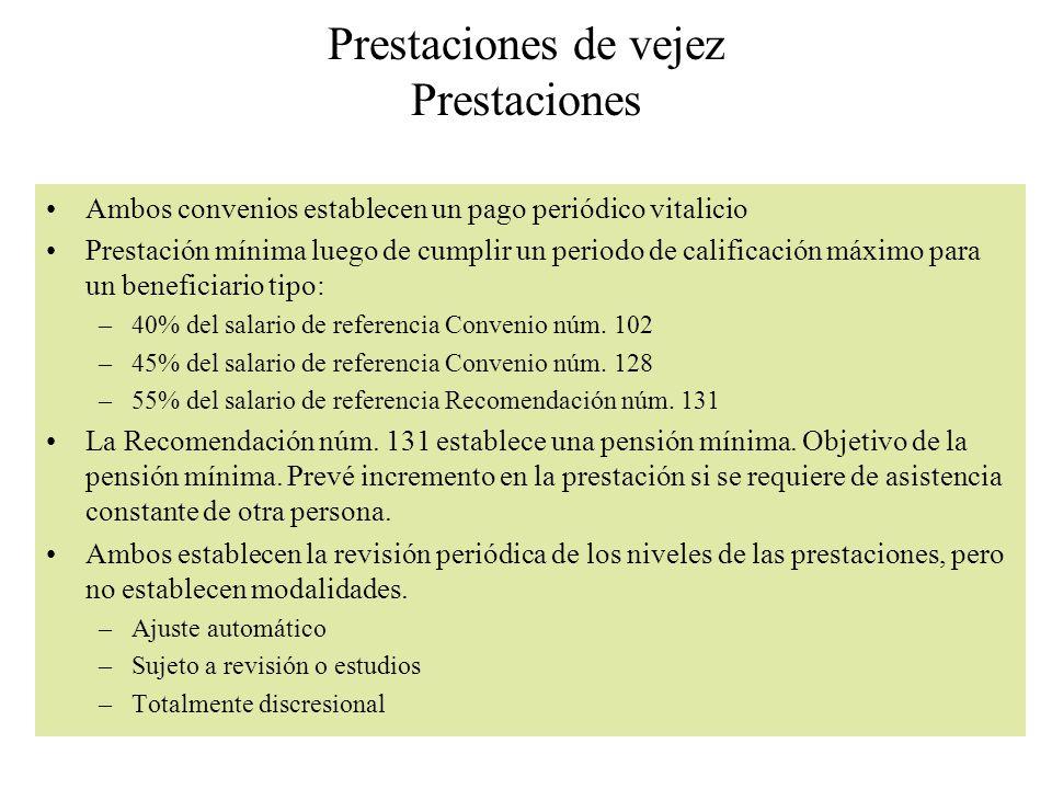 Prestaciones de vejez Prestaciones Ambos convenios establecen un pago periódico vitalicio Prestación mínima luego de cumplir un periodo de calificació