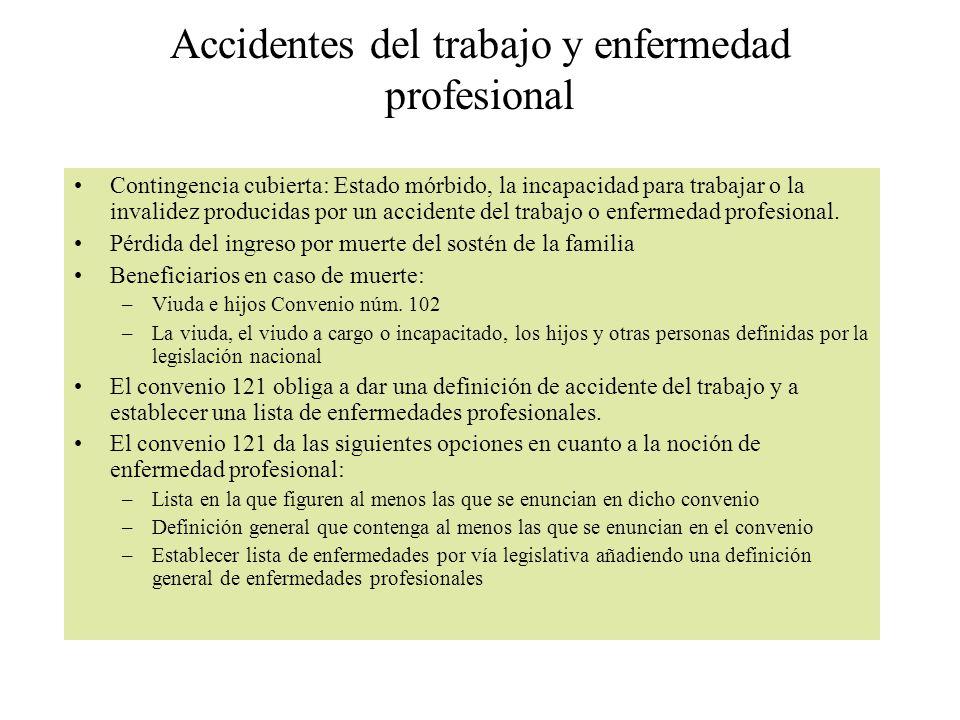 Accidentes del trabajo y enfermedad profesional Contingencia cubierta: Estado mórbido, la incapacidad para trabajar o la invalidez producidas por un accidente del trabajo o enfermedad profesional.