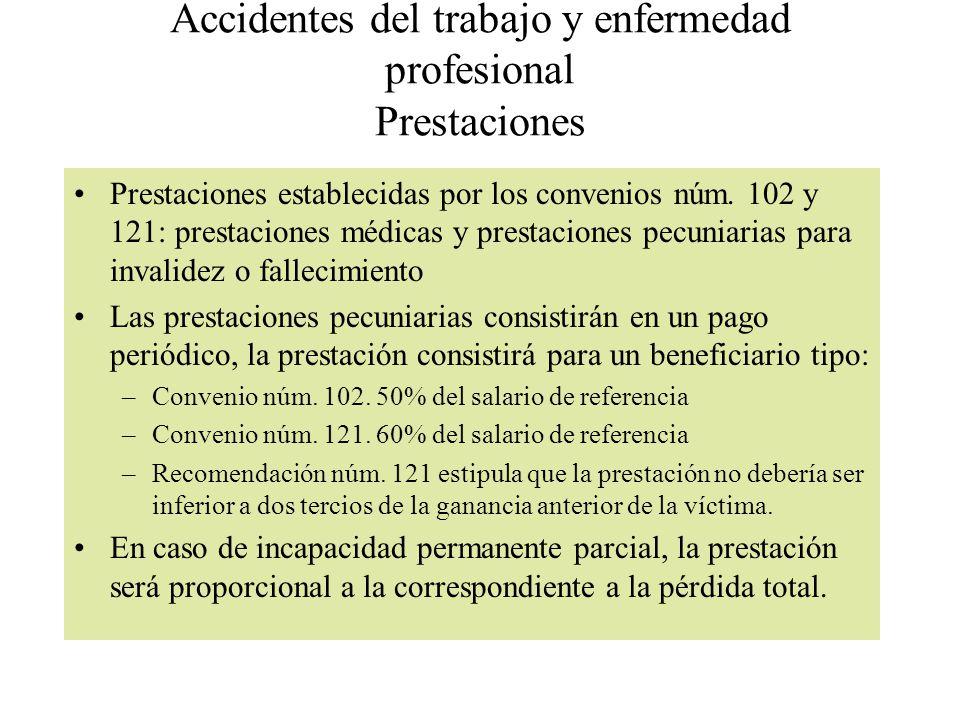 Accidentes del trabajo y enfermedad profesional Prestaciones Prestaciones establecidas por los convenios núm. 102 y 121: prestaciones médicas y presta