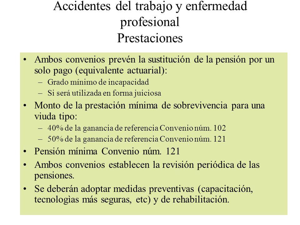 Accidentes del trabajo y enfermedad profesional Prestaciones Ambos convenios prevén la sustitución de la pensión por un solo pago (equivalente actuari