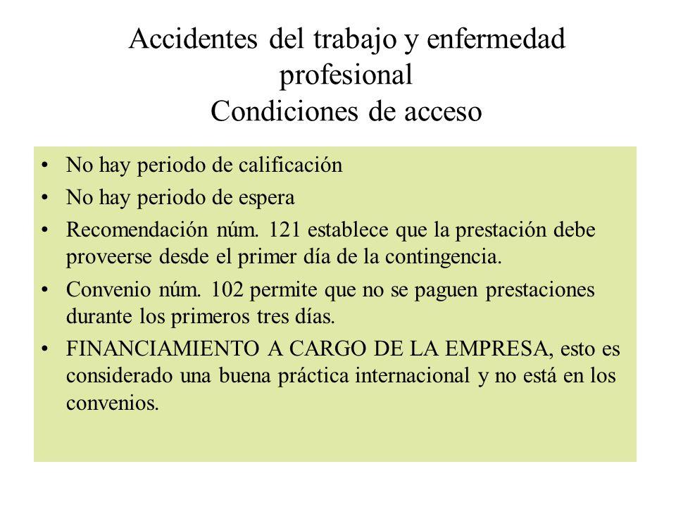 Accidentes del trabajo y enfermedad profesional Condiciones de acceso No hay periodo de calificación No hay periodo de espera Recomendación núm. 121 e