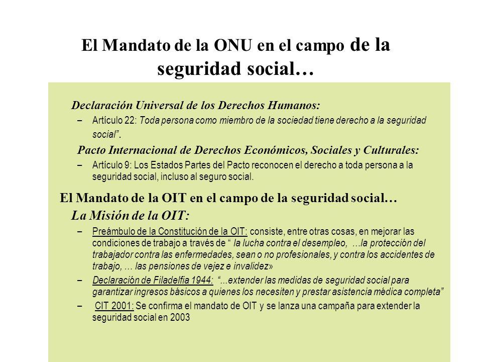 El Mandato de la ONU en el campo de la seguridad social… Declaración Universal de los Derechos Humanos: –Artículo 22: Toda persona como miembro de la sociedad tiene derecho a la seguridad social.
