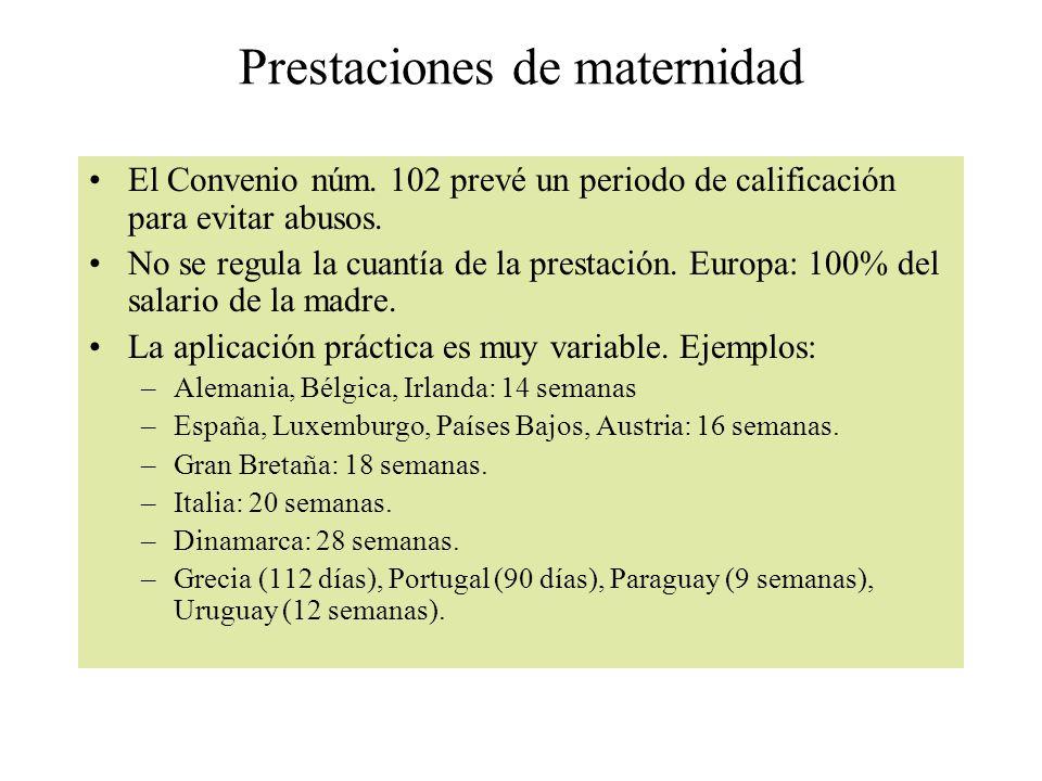 Prestaciones de maternidad El Convenio núm. 102 prevé un periodo de calificación para evitar abusos. No se regula la cuantía de la prestación. Europa:
