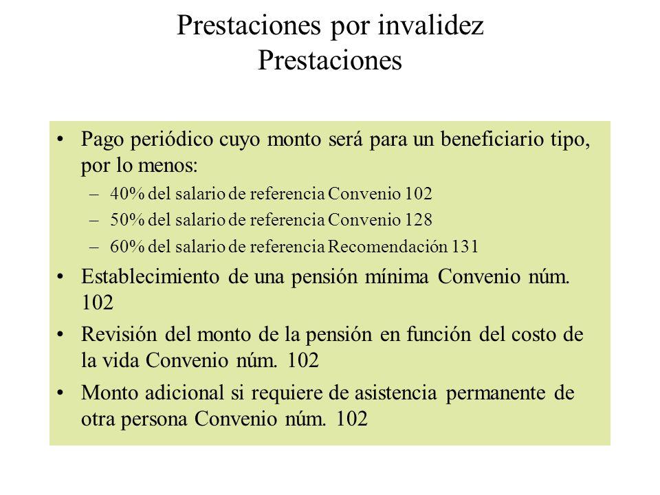 Prestaciones por invalidez Prestaciones Pago periódico cuyo monto será para un beneficiario tipo, por lo menos: –40% del salario de referencia Conveni