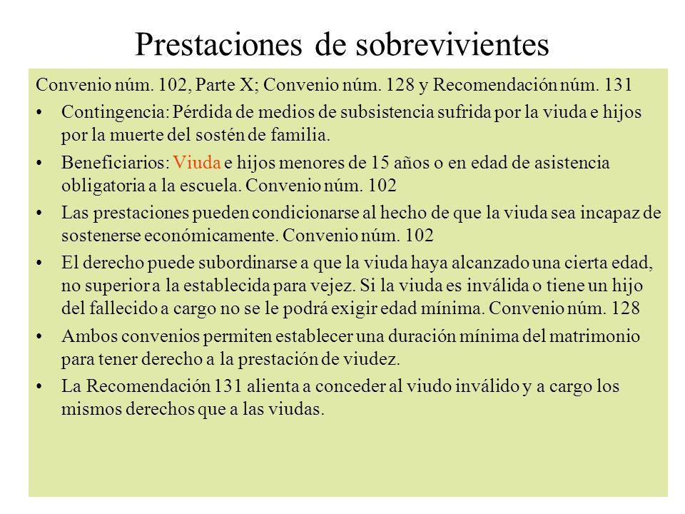 Prestaciones de sobrevivientes Convenio núm.102, Parte X; Convenio núm.