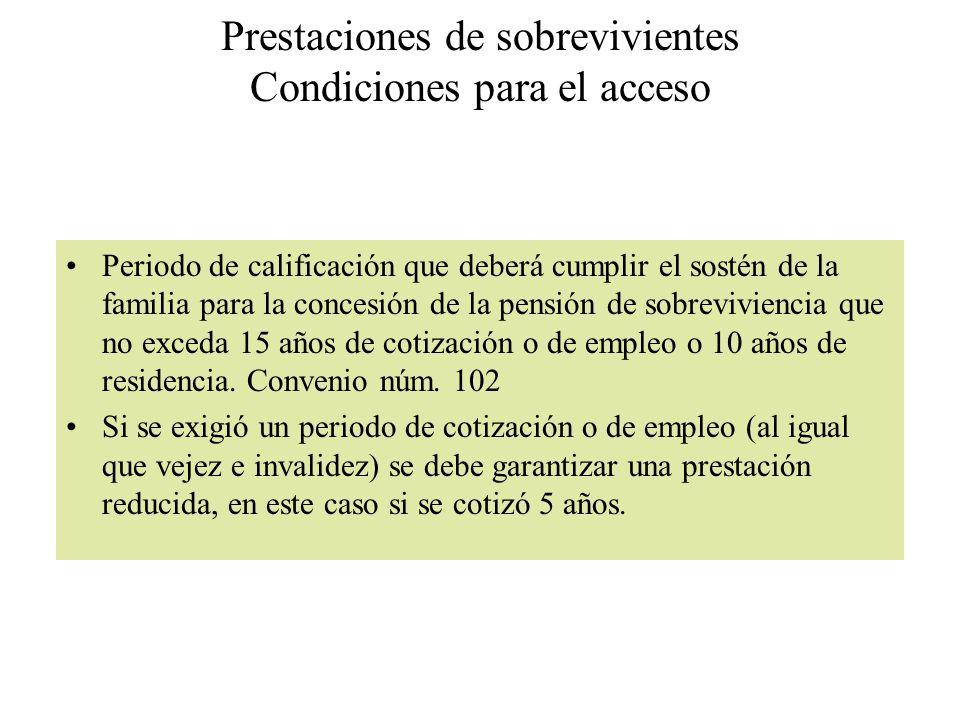 Prestaciones de sobrevivientes Condiciones para el acceso Periodo de calificación que deberá cumplir el sostén de la familia para la concesión de la p