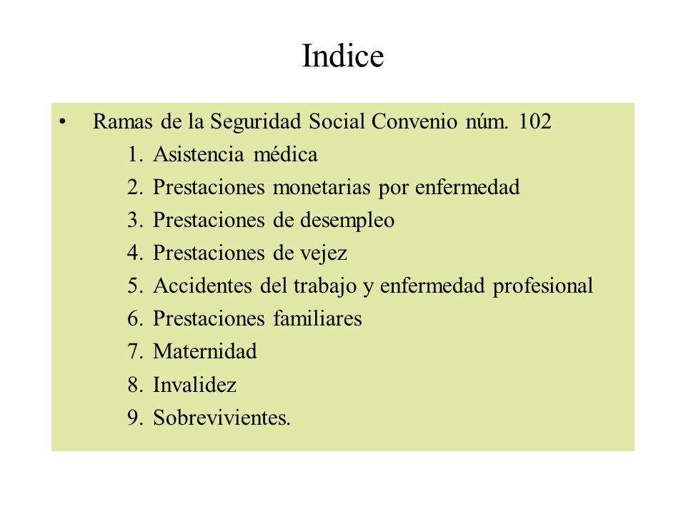 Indice Ramas de la Seguridad Social Convenio núm. 102 1.Asistencia médica 2.Prestaciones monetarias por enfermedad 3.Prestaciones de desempleo 4.Prest