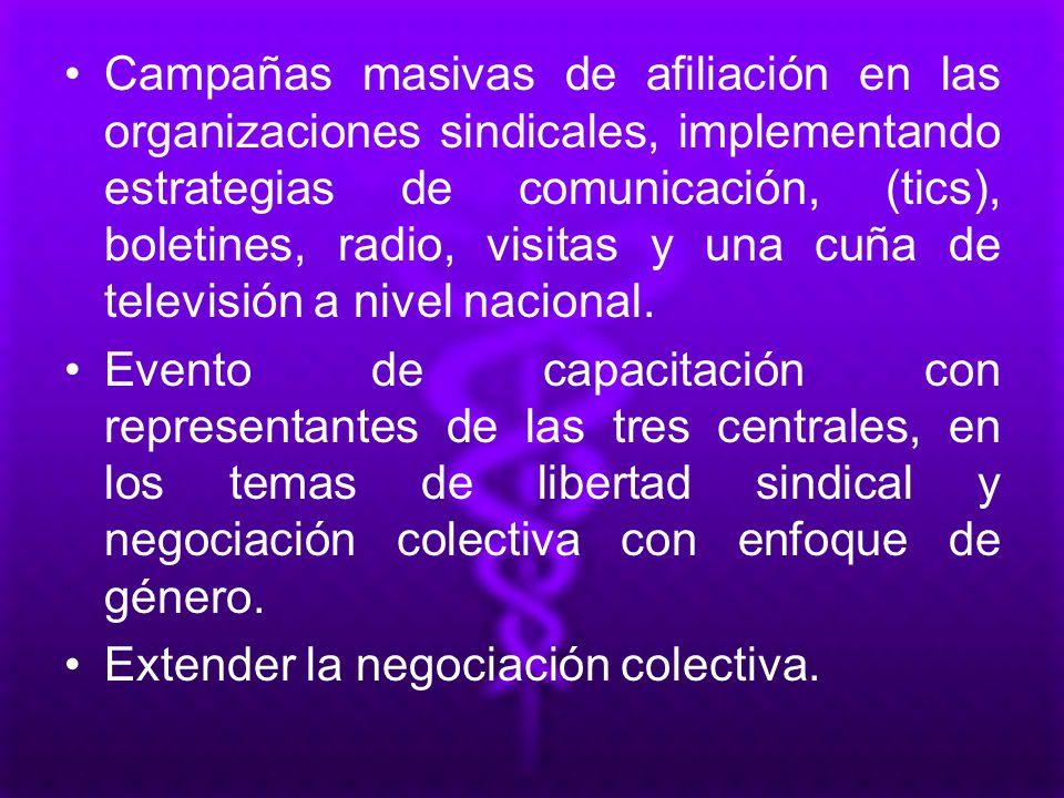 Campañas masivas de afiliación en las organizaciones sindicales, implementando estrategias de comunicación, (tics), boletines, radio, visitas y una cu