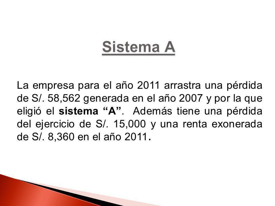 La empresa para el año 2011 arrastra una pérdida de S/. 58,562 generada en el año 2007 y por la que eligió el sistema A. Además tiene una pérdida del