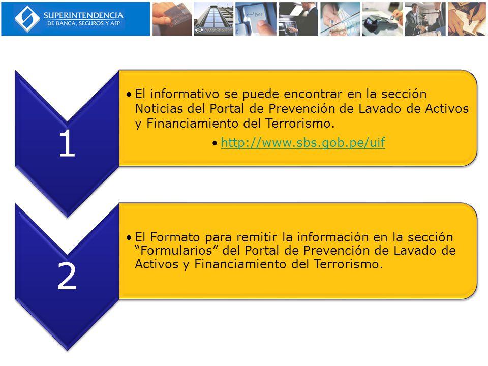 1 El informativo se puede encontrar en la sección Noticias del Portal de Prevención de Lavado de Activos y Financiamiento del Terrorismo.