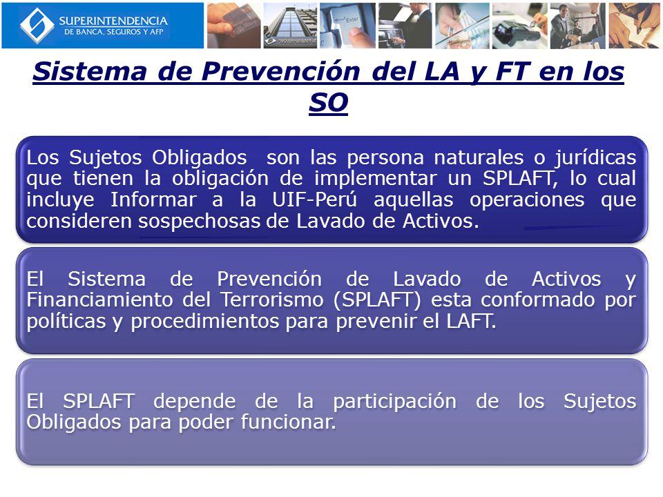 Sistema de Prevención del LA y FT en los SO Los Sujetos Obligados son las persona naturales o jurídicas que tienen la obligación de implementar un SPLAFT, lo cual incluye Informar a la UIF-Perú aquellas operaciones que consideren sospechosas de Lavado de Activos.